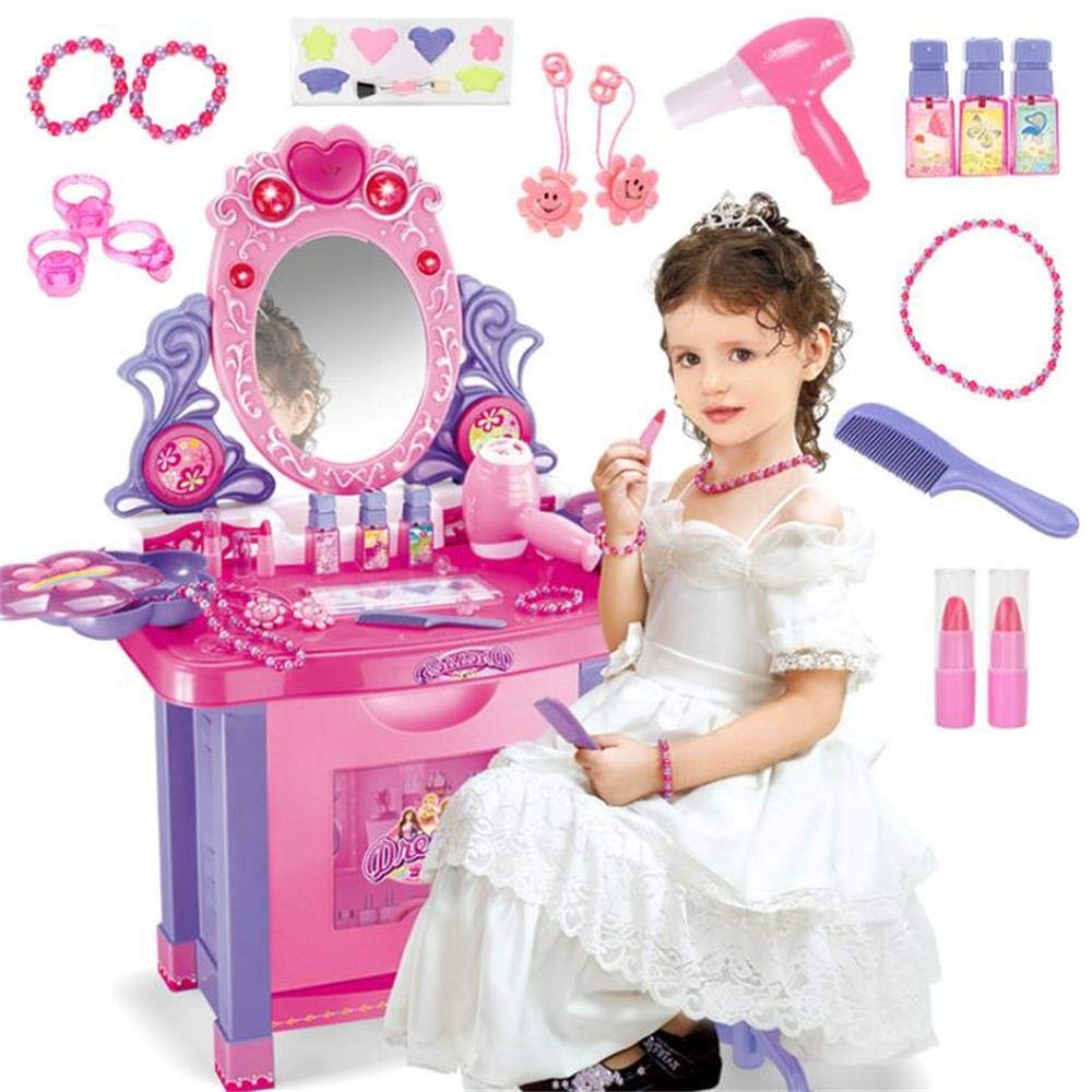 JFMBJS Girls Musical Dressing Table 16 Piece Vanity Set, Toy Vanity with Light and Music Mirror, Great Birthday Gift