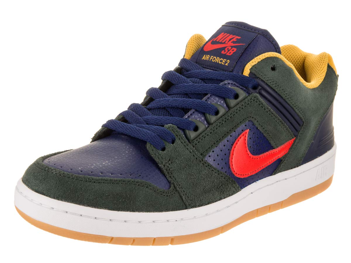 san francisco 18878 951f2 Galleon - NIKE Men s SB Air Force II Low Skate Shoe (12 D(M) US, Midnight  Green Habanero Red)