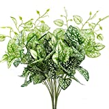 GTidea 2pcs Artificial Shrubs Silk Epipremnum Aureu Leaves Fake Bunches Greenery Plants Home Garden Office Table Windowsill Indoor Outside Decor White/Green