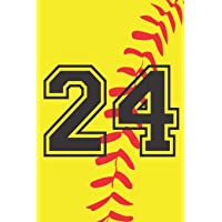 Image for 24 Journal: A Softball Jersey Number #24 Twenty Four Notebook For Writing And Notes: Great Personalized Gift For All Players, Coaches, And Fans (Yellow Red Black Ball Print)