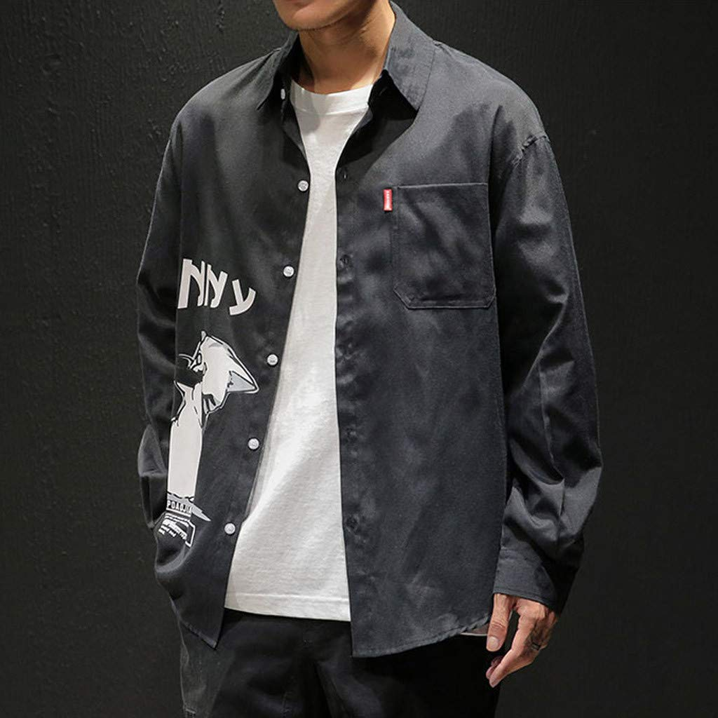 willsa Casual Business Striped Plaid Mens Casual Fashion Printing Loose Pocket Lapel Long Sleeve Shirt Tops Blouse