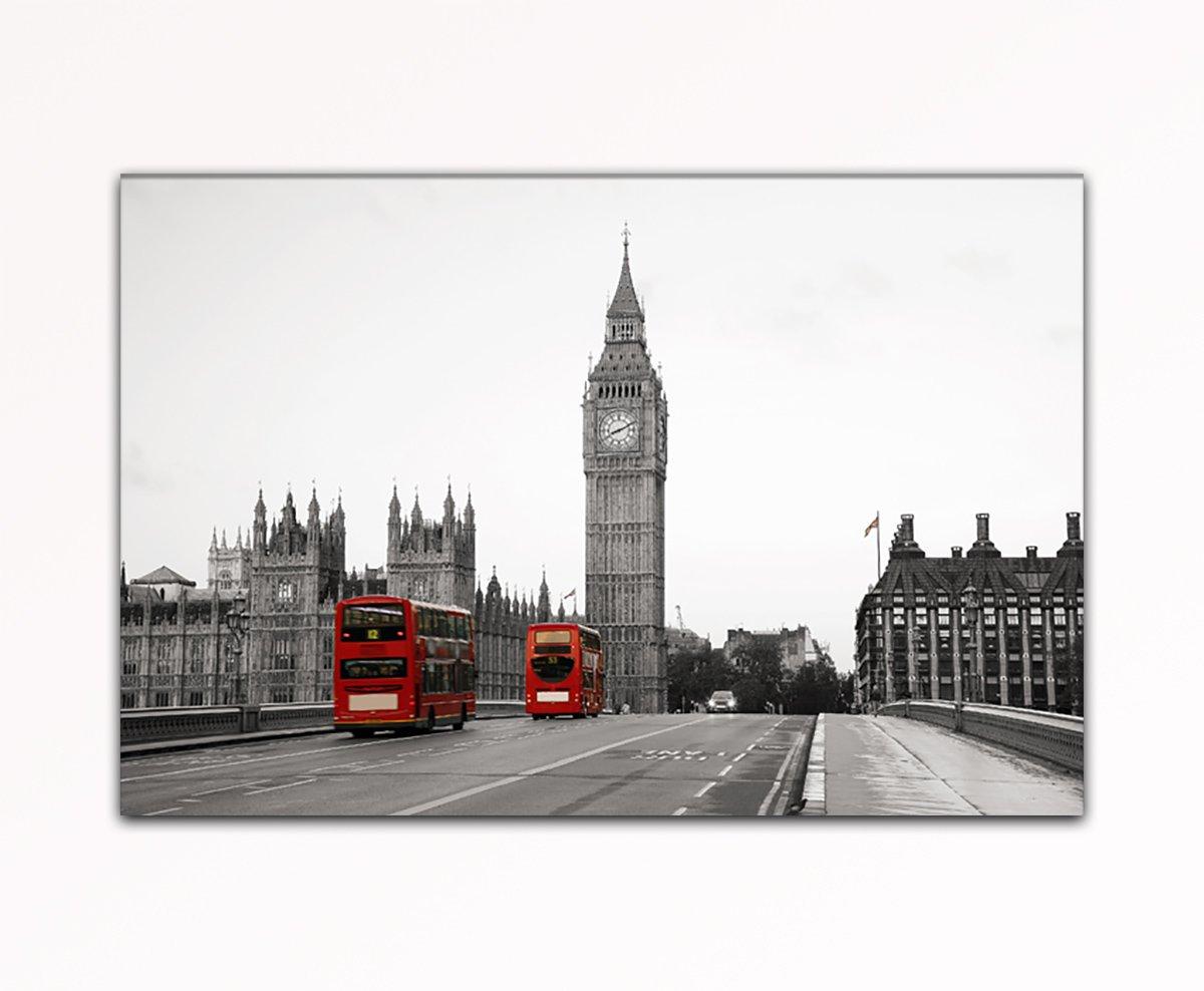 Deinebilder24 Foto auf Leinwand - - - 80 x 120 cm - London Bridge Big Ben Rote Busse London Eyecatcher a0e6c9