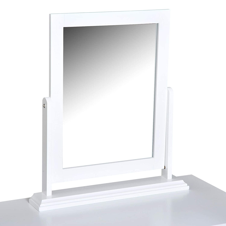 HOMCOM Tocador Mesa Maquillaje con Espejo Giratorio 360/° y 2 Cajones Dise/ño Moderno para Dormitorio 100x40x73cm MDF