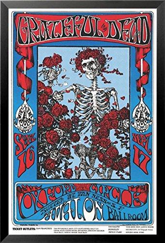 Buyartforless Framed Grateful Dead - Skeleton & Roses Family Dog 36x24 Art Print Poster Oxford Circus Avalon Ballroom