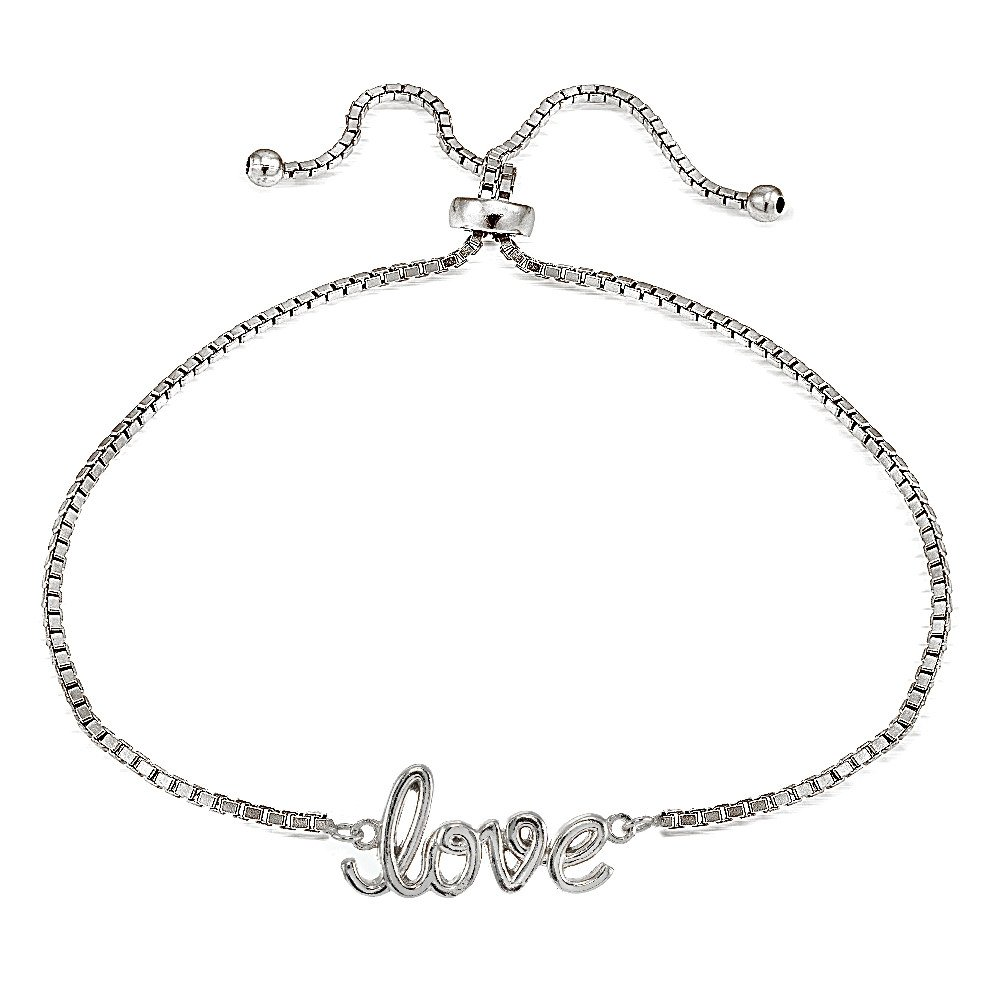 Hoops /& Loops Sterling Silver Love Polished Adjustable Bracelet