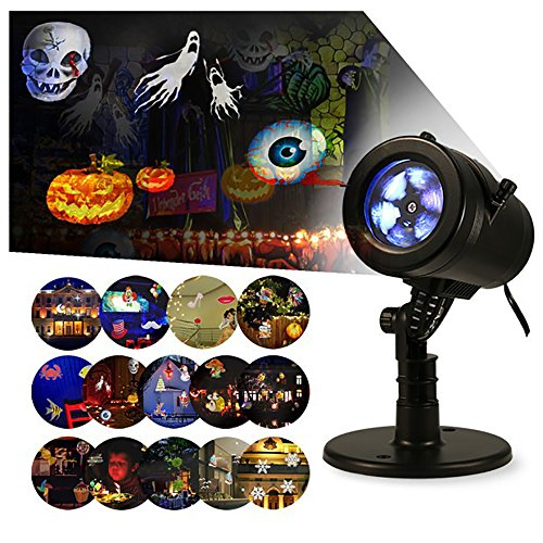 Lightess Halloween Light Projector Outdoor Indoor Holiday Decorations Waterproof LED Landscape Spotlight for Christmas Theme Party Store Window Landscape and Garden, 14 Patterns, UL Listed, YG-FL02 (Christmas Decorations Store)