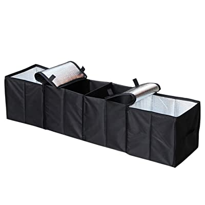 Cargo Foldable Multi Compartment Fabric Car Truck Van SUV Storage Basket Trunk Organizer and Cooler Set,Black,AK-018