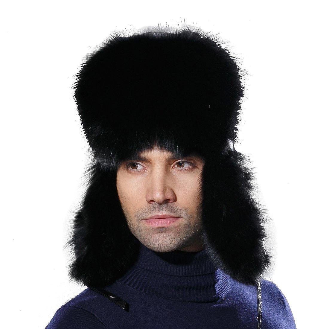 URSFUR Winter Mens Russian Ushanka Hat Real Leather & Fox Fur Trapper Cap