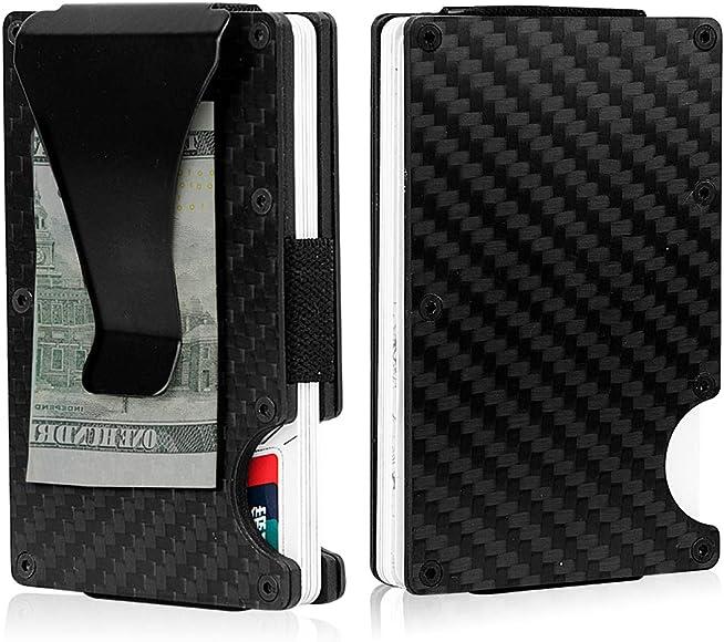 FASOTY Carbon Fibre Slim Wallet RFID Blocking Aluminum Steel Credit Card Holder Case Slim Compact Black Minimalist Wallet Money Clip for Men and Women