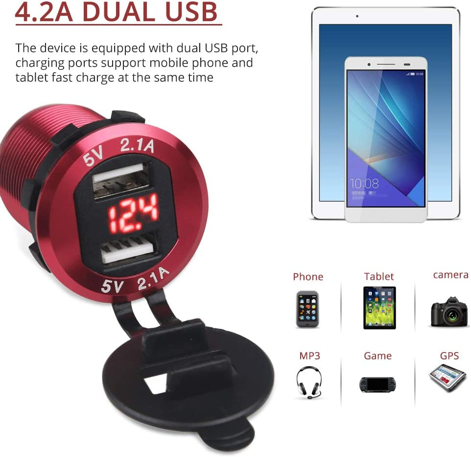 WATERWICH 5V 4.2A Dual USB Car Charger Aluminum Metal Marine Car Charger Adapter Socket Fast Charging with12-24V LED Voltmeter for iPhone Samsung All 5V USB Device RV Yacht SUV Motorcycle Boat Red