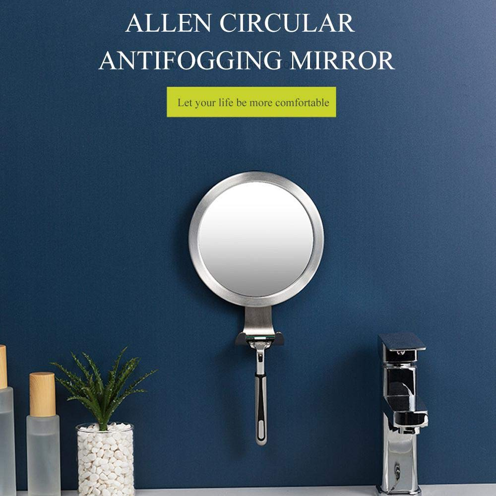 Antifog Mirror Shower Shatterproof and Portable OOOUSE Shower Mirror Fog Free Fogless Bathroom Mirror with Razor Hook and Powerful Suction Cup