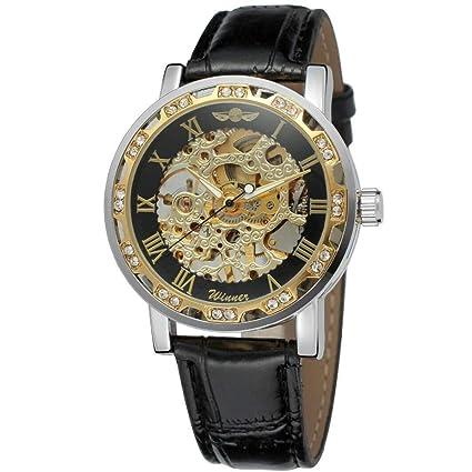 Mr. Xiong Steampunk Hombres Reloj mecánico analógico Oro Esqueleto dial Reloj Mano Cuerda Mecanismo Auto