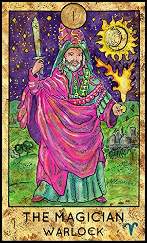 (Cool Colorful Magical Fortune Future Tarot Cards Cartoon - The Magician Warlock (2
