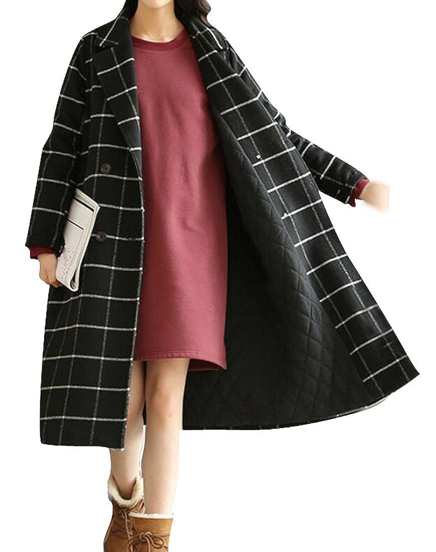 SELX-Women Winter Thicken Plaid Fleece Lined Wool Long Pea Coat