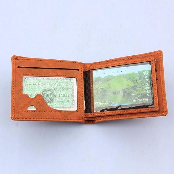 BaZhaHei-Cartera Carteras Hombre Hombres de Cuero Card Cash Receipt Holder Organizer Bifold Wallet La Billetera Corta de los Hombres de la Hoja Billetera de ...