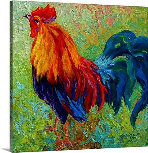 Marionローズプレミアムシックラップキャンバス壁アート印刷題名バンドのゴールドRooster 24