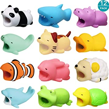 Newseego Cable Protector Cargador Cable Chewers Cable Cute Animal Bite Cable Protector - 12 Pack (Tiburón, Panda, Pez Payaso, Pato, Gatito, Tortuga, ...