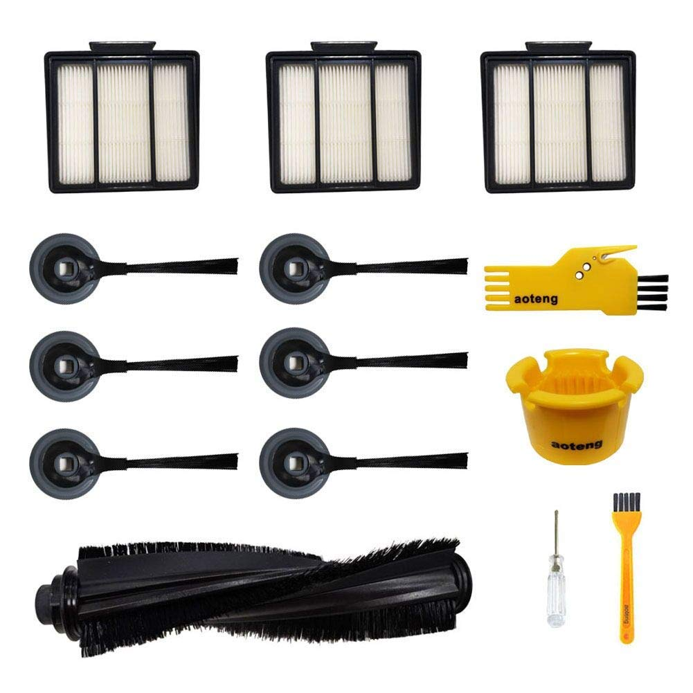 aoteng Accessories for Shark ION Robot Vacuum R85 RV850 RV850BRN RV850WV S87 RV851WV RV700_N RV720_N RV750_N Replacment Parts Pack of 1 Main Brush, 3 Hepa Filters, 6 Side Brushes, 2 Cleaning Tools