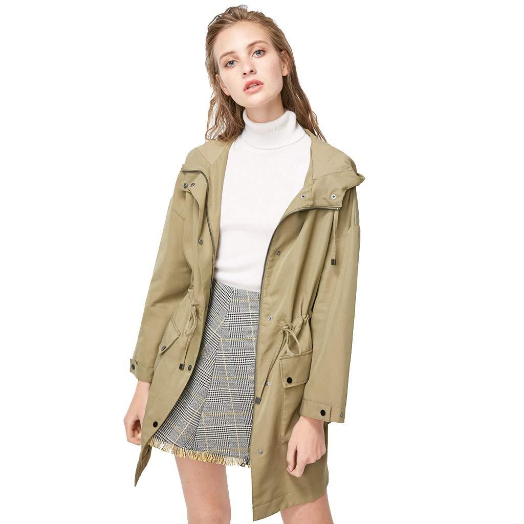 Brown Windbreaker Autumn Drawstring Adjustable Long Coat Hooded Work Jacket Belt with Jacket Lightweight Jackets (color   Brown, Size   XL)