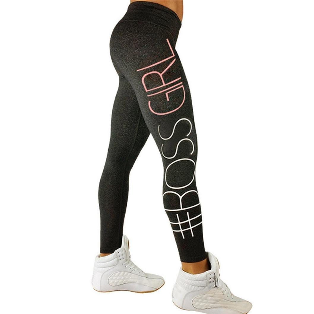 Yoga Leggings,Han Shi Women Colorful Letter Print High Waist Sports Gym Fitness Pants (M, Dark Gray)