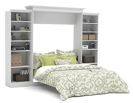 Amazoncom Bestar Versatile Queen Wall Bed With Storage In White