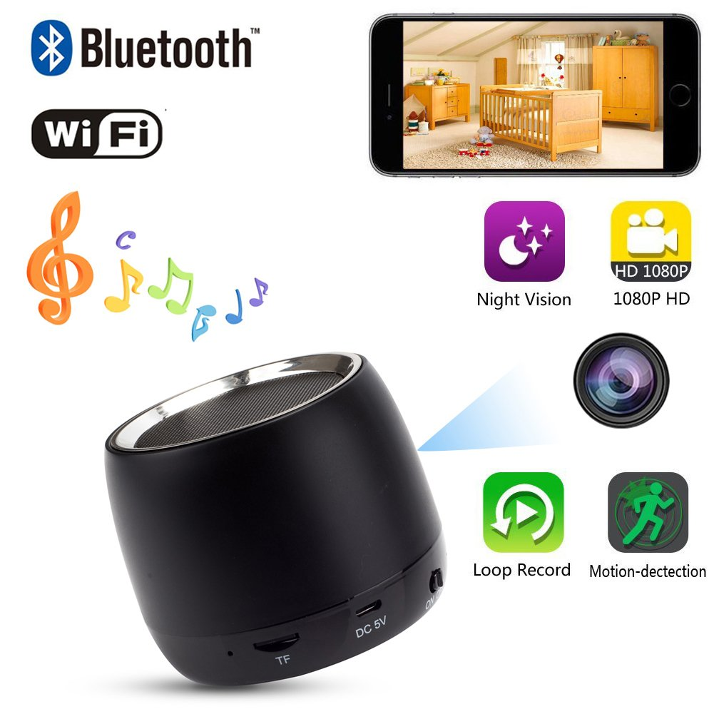 YCTONG HD 1080P Hidden Camera WIFI Spy Camera Bluetooth Speaker Wireless Cam Motion Detection Mini Video Recorder Night Vision Cameras Surveillance Camcorder Pet Nanny Cam for Home Security