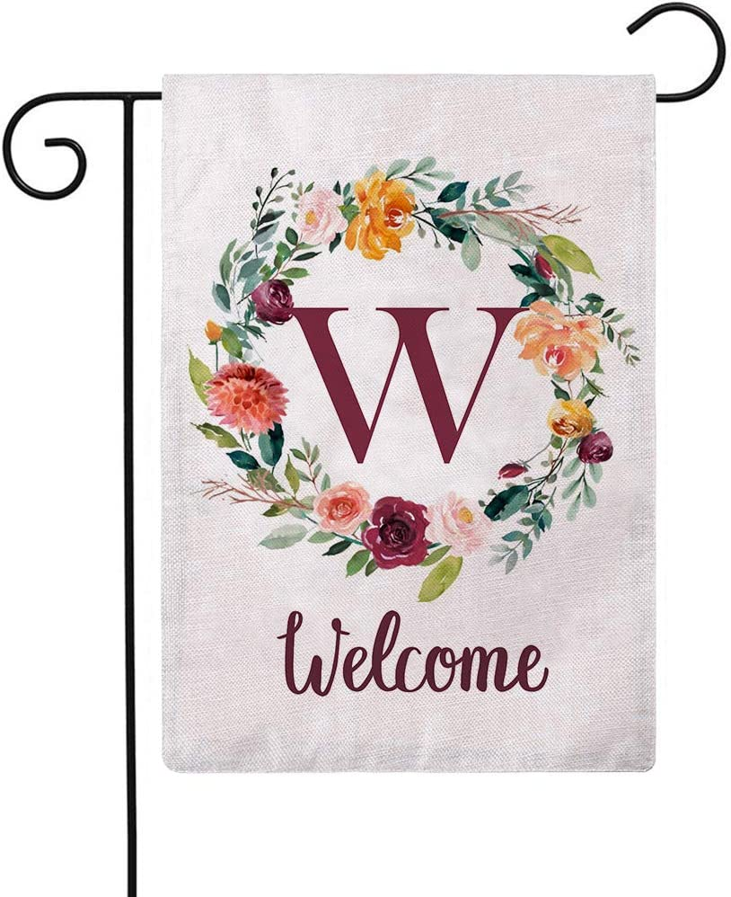 ULOVE LOVE YOURSELF Letter W Garden Flag with Flowers Wreath Double Sided Print Welcome Garden Flags Outdoor House Yard Flags 12.5 x 18 Inch
