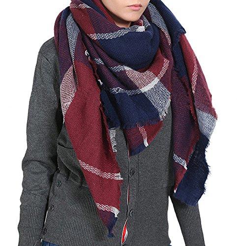 - Afibi Women's Winter Oversized Cozy Plaid Checked Tartan Blanket Scarf Wrap Shawl (Burgandy)