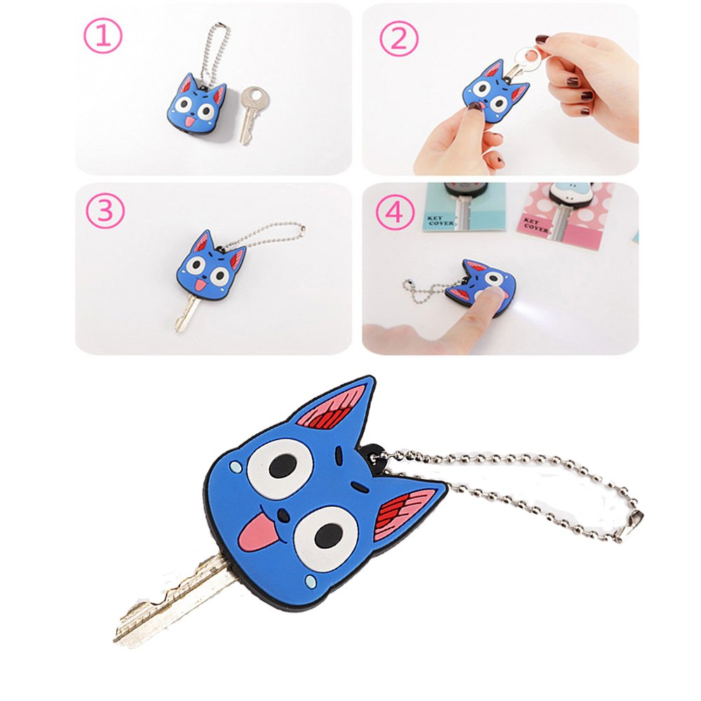 Comidox 5 Pcs LED Creative Keychain Shell PVC Silicone Soft Key Ring Cap Cover Case Cartoon Animal Styling White Cat &Blue Cat&Black Cow&Hippo&Lion 1 ...