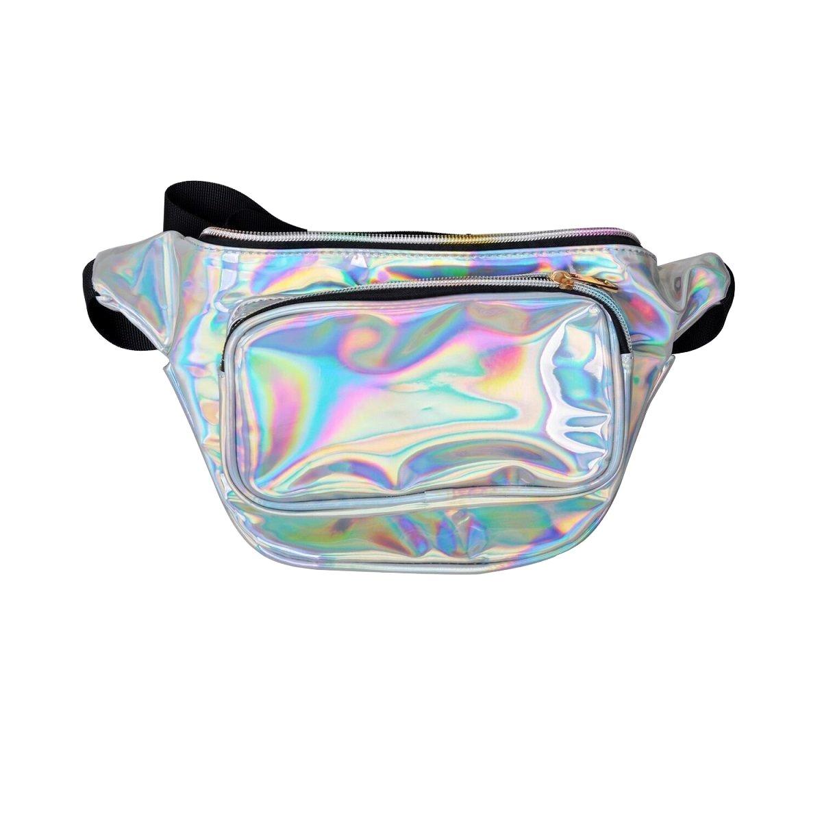 Holografische Gürteltasche für Damen, glänzend, silberfarben