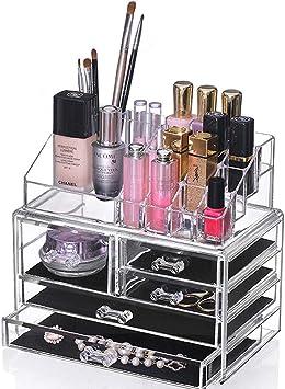 SJTL Organizador Caja Acrílica Estante de Maquillajes Maquillaje ...