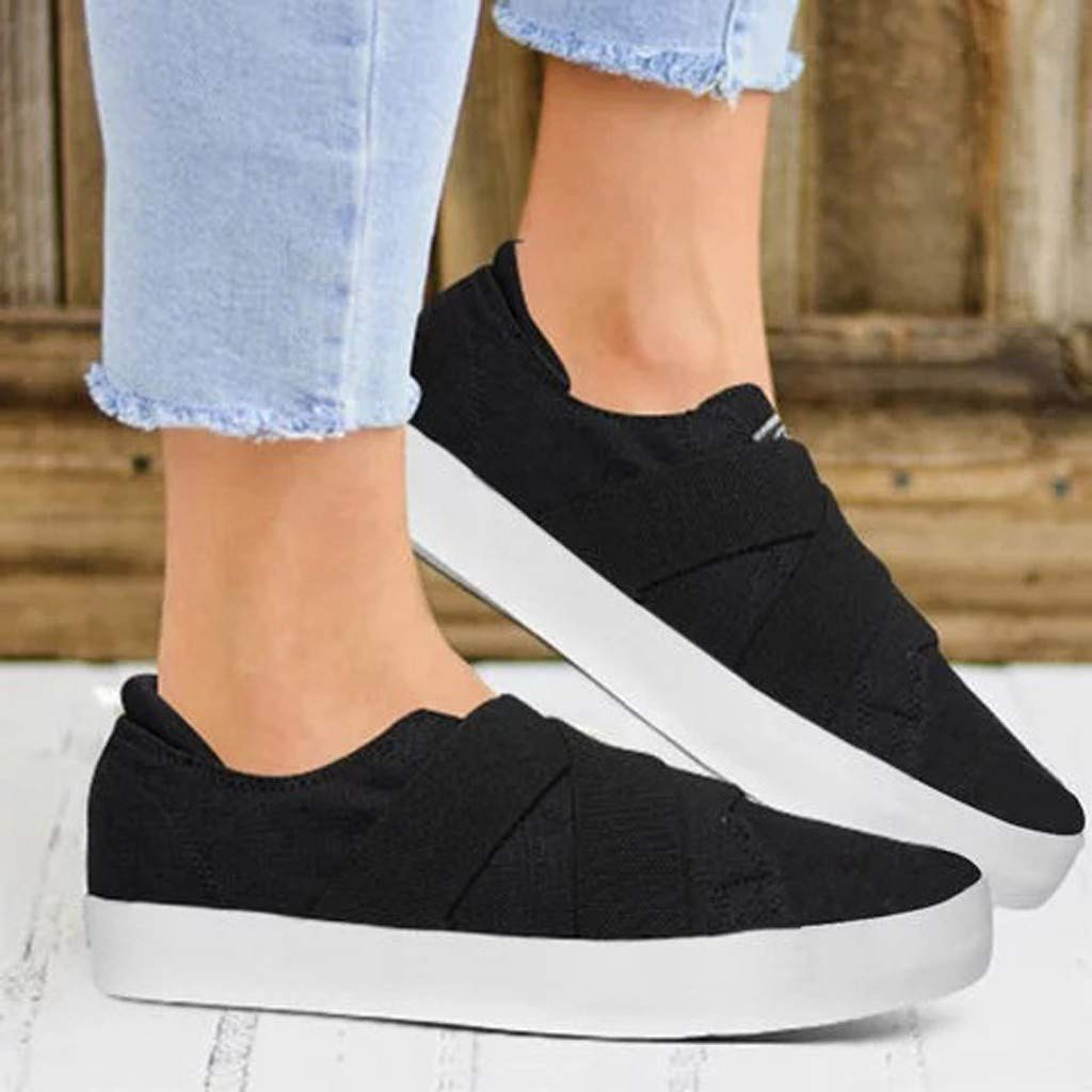 Sunsee-Women Shoes Womens Summer Canvas Flat Running Shoes Summer Beach Shoes Casual Single Shoes (41/US 8, Black) by WOMEN SHOES BIG PROMOTION-SUNSEE (Image #1)