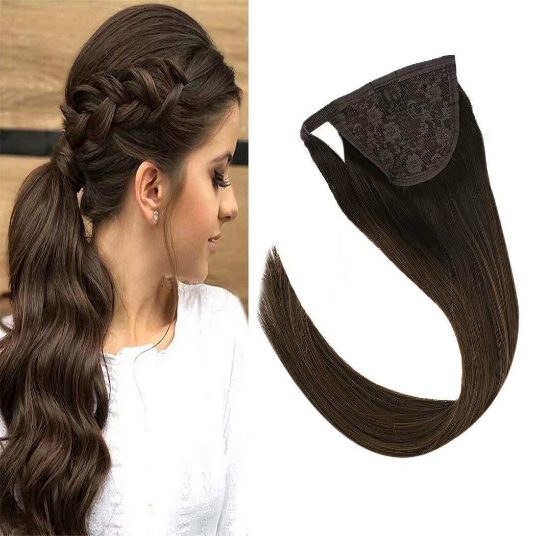 VeSunny 16inch Remy Ponytail Highlight Hair Extensions Human Hair Color #2 Darkest Brown Fading to #6 Medium Brown Wrap Around Real Hair Ponytail Extension Straight 80g/set by Ve Sunny