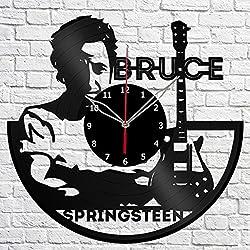 Vinyl Clock Bruce Springsteen Vinyl Record Wall Clock Fan Art Handmade Decor Original Gift Unique Decorative Black 12 (30 cm)