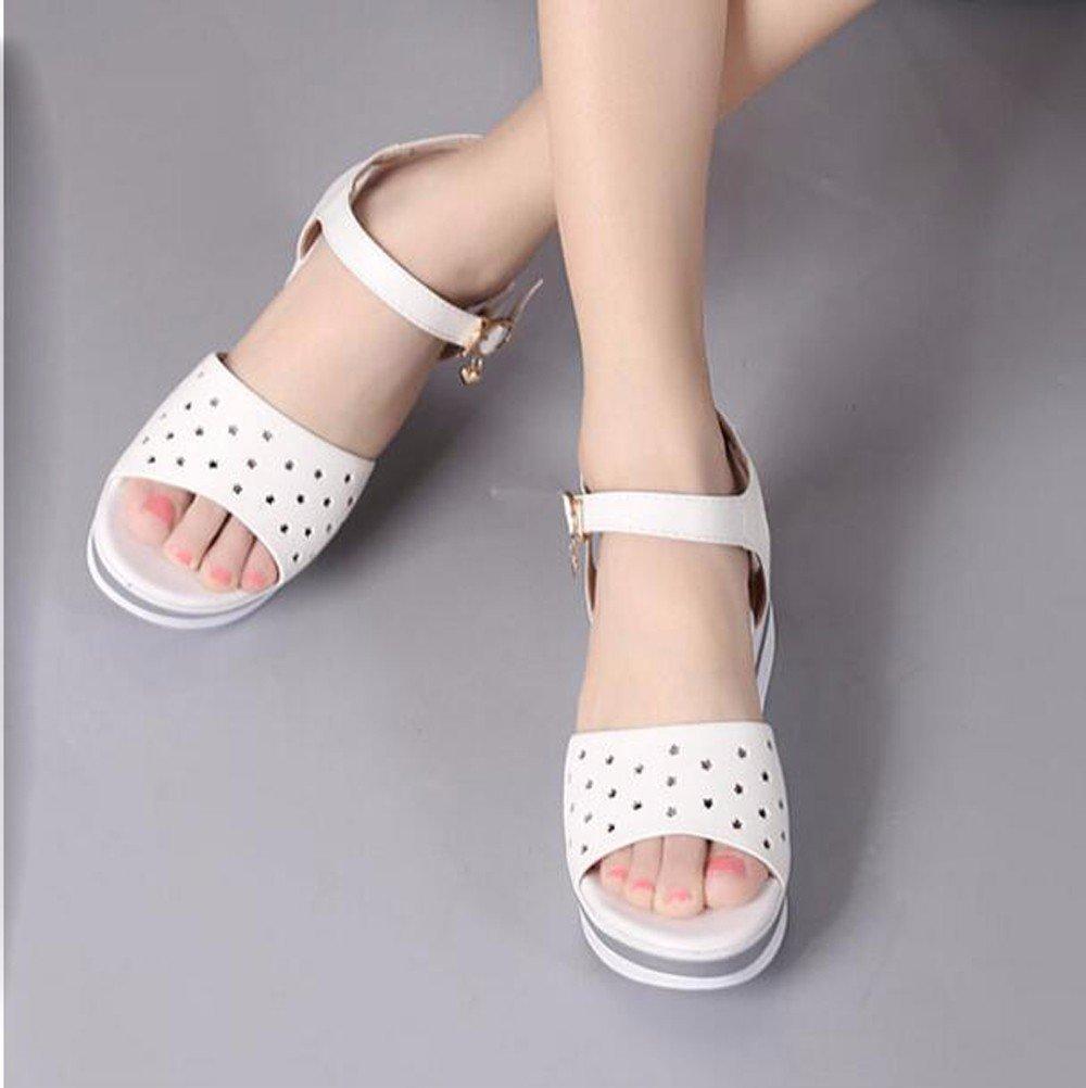 GTVERNH-Dicksohlige Schuhe Sandalen Weiblich Sommer Schütteln Koreanische Muffins Unten Unten Unten Flach Unten Hang Mit Weichen Weißen. 39 c7d268