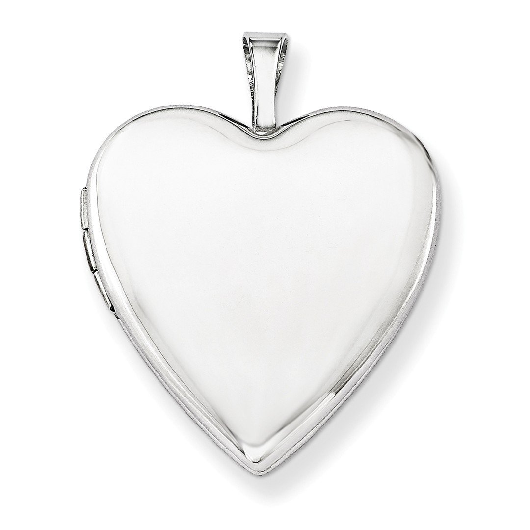 ICE CARATS 14k 20mm White Gold Plain Heart Photo Pendant Charm Locket Chain Necklace That Holds Pictures Fine Jewelry Gift Set For Women Heart