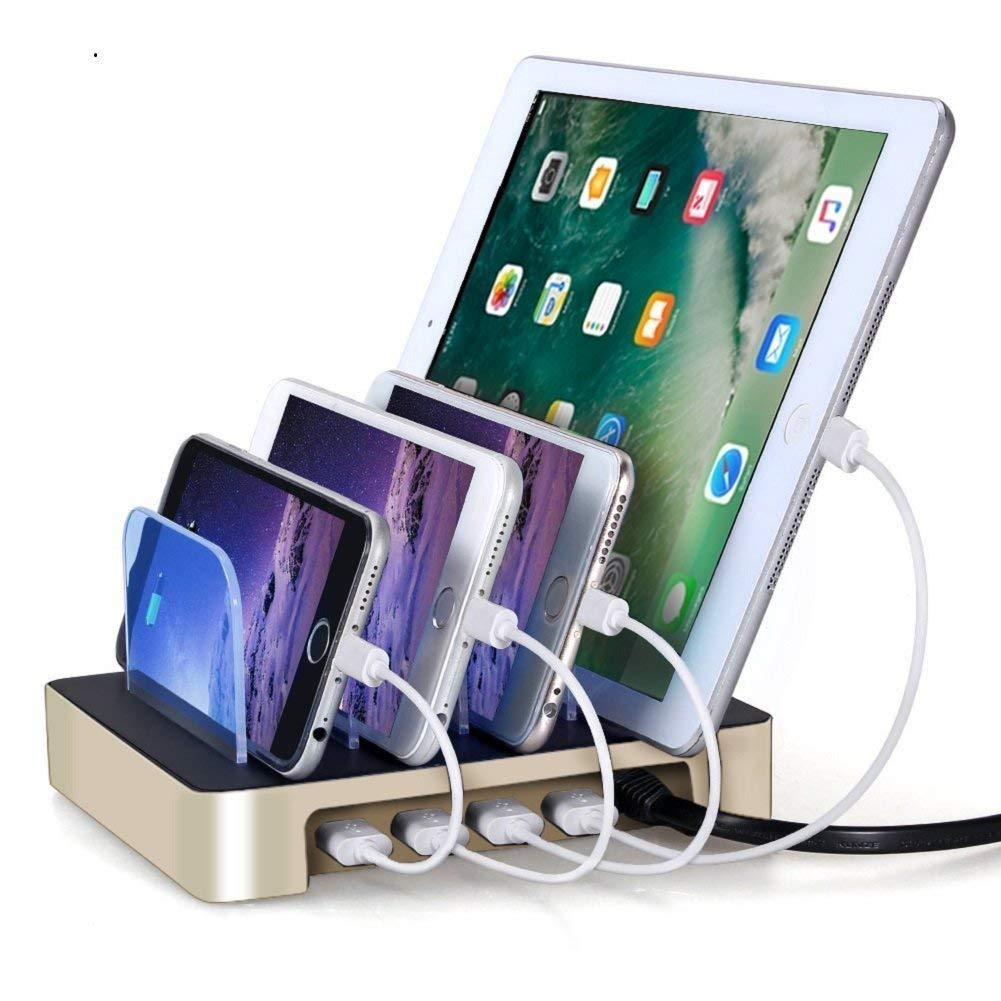 4 Ports USB Charging Station, Universal Detachable Multi-port Desktop Charge Dock Stand Multiple Devices USB Charging Station Organizer, for iPhone iPad Samsung LG Tablet PC-Gold