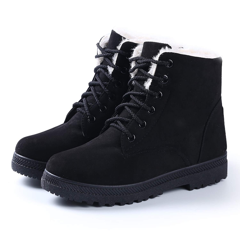 Women Boots New Winter Women Warm Flock Fur Snow Boot Women Shoes Black Plus Size 35 43,Gray,10.5