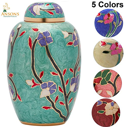 Floral Urn - Cremation Urn - Flower Funeral Urn for Human Ashes - Burial urn with lacquer finish - 100% Brass - Flora Green