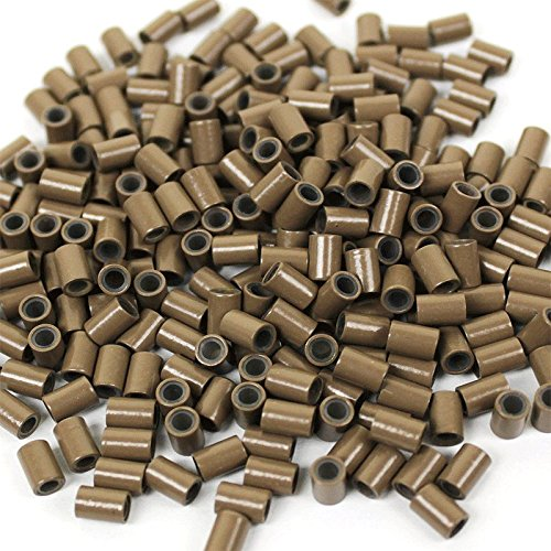 HAIR DE VILLE 500 PCS 3.5 mm Silicone Lined Copper Micro Tube Rings Links Beads Linkies For I Tip Stick Glue Hair Extensions - Color Light - Copper Light Brown