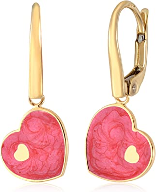 UNICORNJ 14K White Gold Large Heart Dangle Leverback Earrings with Light Pink Enamel Italy