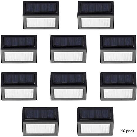 LEDHOLYT upgrated energía Solar Escalera Lámpara de pared Sensor de movimiento - lámpara para montaje en