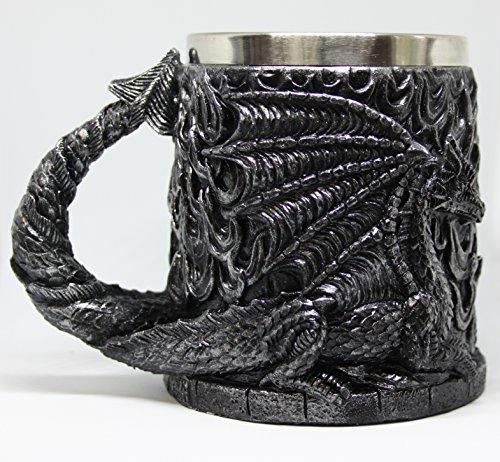 Dragon Tankard - Mystical Potion Dragon Mug, Fantasy Tankard, Resin, Stainless Steel