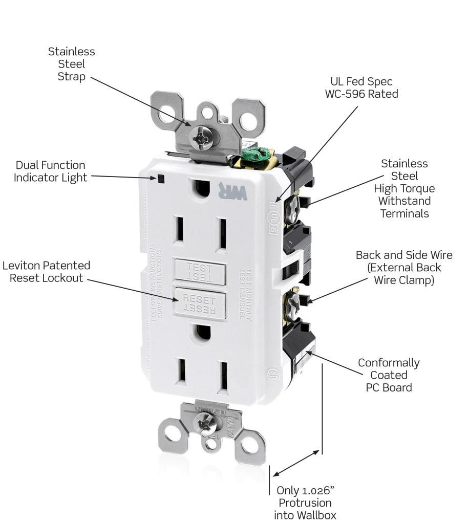 leviton wr899 w 20 amp 125 volt smartlock pro slim weather resistant gfci receptacle white