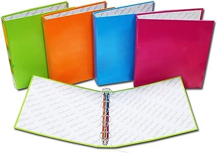 400129 - Pack de 4 carpetas A5 con 4 anillas, tapas de cartón forrado, colores variados: Amazon.es: Oficina y papelería