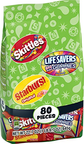 Skittles, Starburst and Lifesavers Fun Size Variety Bag, 80 Count (Pack of 6) ()