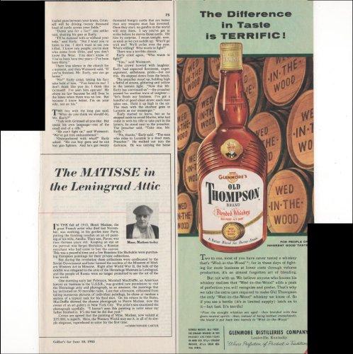 Glenmore's Old Thompson Brand Blended Whiskey Taste 1955 Antique Advertisement
