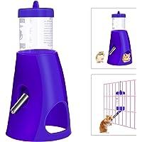 UEETEK Small Animal Hideout Drinking Dispenser Feeder 2 in 1 Water Bottle with Plastic Base Hut for Dwarf Hamster (Blue)