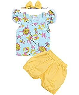 Viclearshop Fathers Day 4Pcs Newborn Baby Girls Clothes Miracles Letter Romper Outfit Pants Set Hat+Headband
