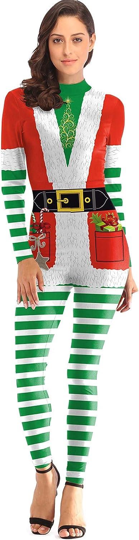 TALLA L. Perfectii Las Mujeres De Navidad Onese, Navidad Flaco Mono para Damas Chicas Apretado Traje De Overol para Navidad Fiesta Cosplay Fotografía